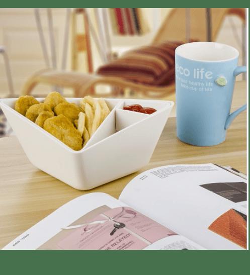 UCHI จานขนม  A0233-WH ขาว