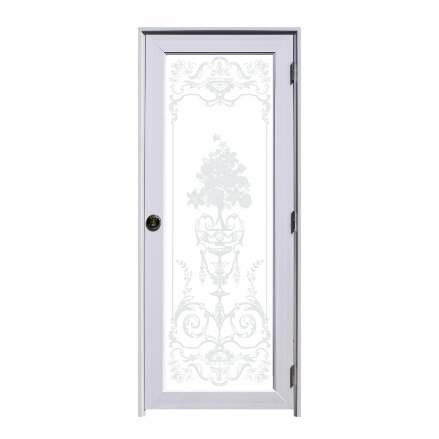 ECO DOOR ประตูยูพีวีซีชุดพร้อมวงกบบานพับลูกบิด ขนาด80x200cm. Flower
