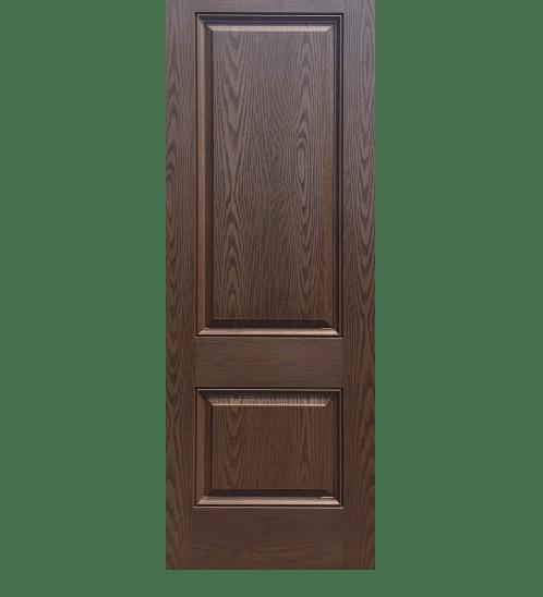 ECODOOR ประตูไฟเบอร์กลาส 2ฟัก ขนาด 80cm.x200cm. สีโอ๊ค ไม่เจาะ   2PT