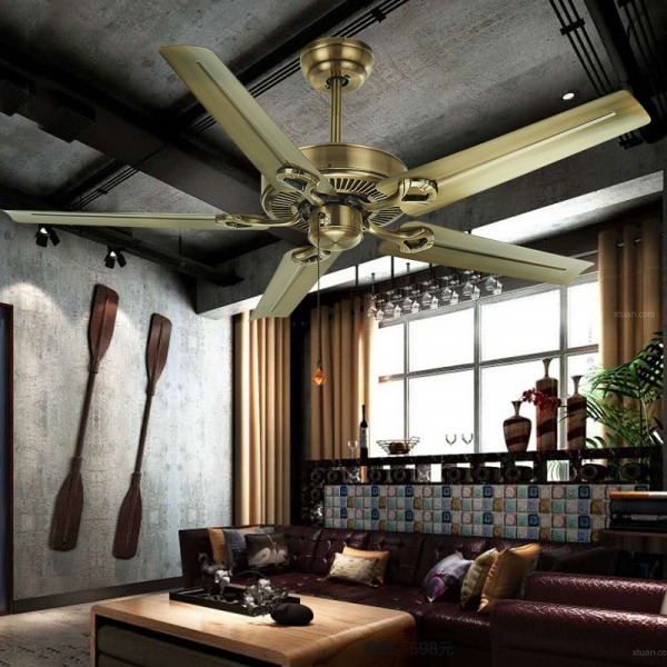 EILON โคมไฟพัดลมเพดาน คลาสสิค ZW-007/5P Gold สีขาว