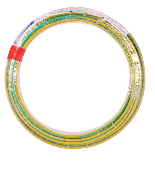 BCC สายไฟ  THW IEC 01 1x4 สีเขียวแถบเหลือง 30ม.
