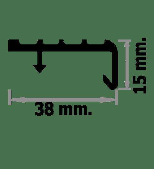 Success จมูกบันได PVC ขนาด 1.5M สีเทาเข้ม A. L38SS