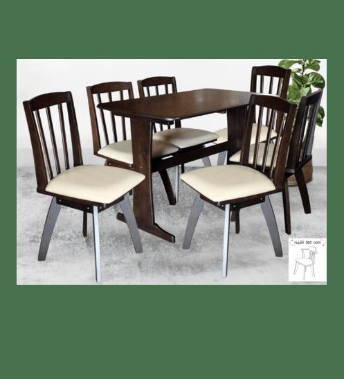 Delicato ชุดโต๊ะอาหาร6ที่นั่ง  VALERIE DE-6 สีน้ำตาลเข้ม