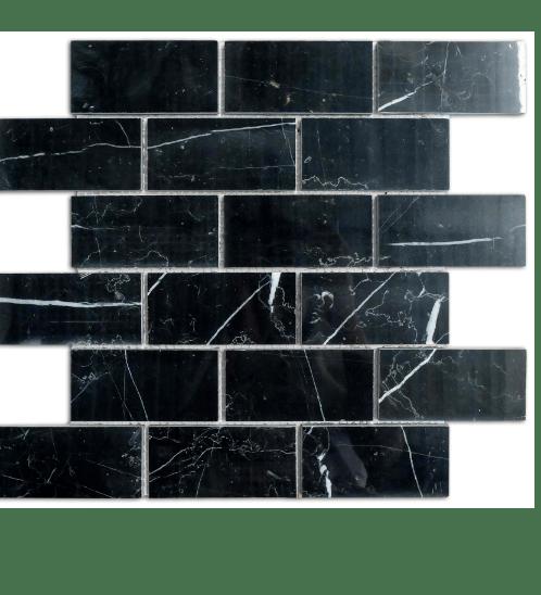 หินธรรมชาติ 30x30 โมเสคหินอ่อนแบล็คมาคิวน่า ผิวขัดมัน  NSD-NMMJ-009