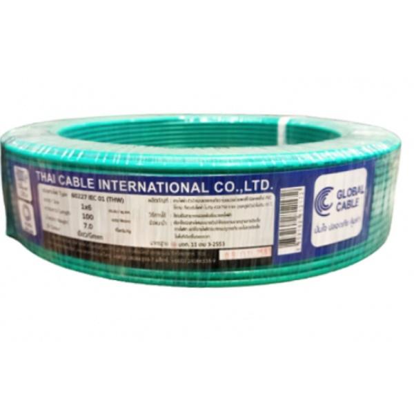 Global Cable สายไฟ  THW IEC01 1x6 100เมตร สีเขียว