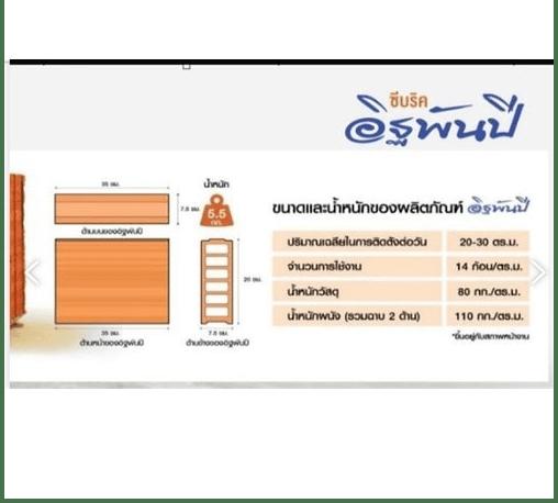 อิฐเซรามิค  อิฐพันปี อิฐเซรามิค C-Brick ขนาด 7.5x35x20cm. เกรด B สีส้ม