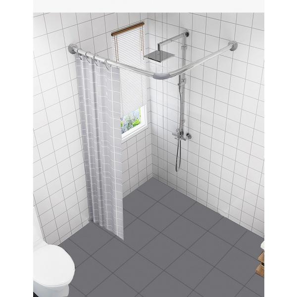 Primo  ราวม่านห้องน้ำสแตนเลส ตัว L ขนาด 80x80ซม.  JMSR8403  สีโครเมี่ยม