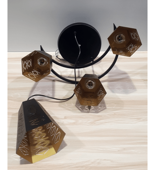ELON โคมไฟแขวน Classic 58407-3+1 สีดำ