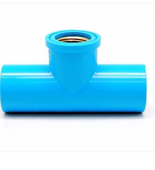VAVO สามทางเกลียวในทองเหลือง ขนาด 1/2 นิ้ว - สีฟ้า