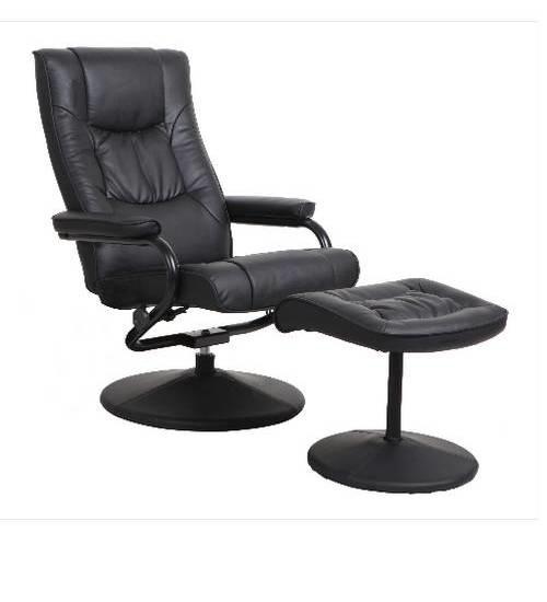 Delicato เก้าอี้พักผ่อน  พร้อมที่พักขา WAIRAKEI สีดำ