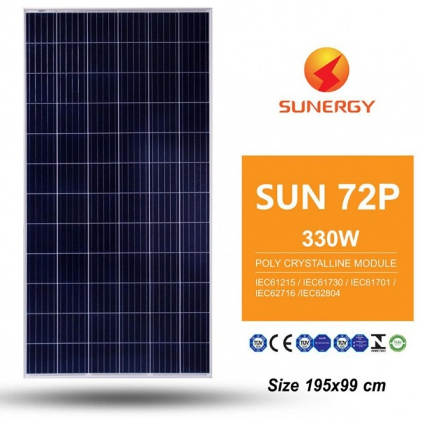 SUNERGY แผงโซล่าร์เซลล์ 330W  SUN 72P-35F-  POLY CRYSTALLINE MODULE สีน้ำเงิน