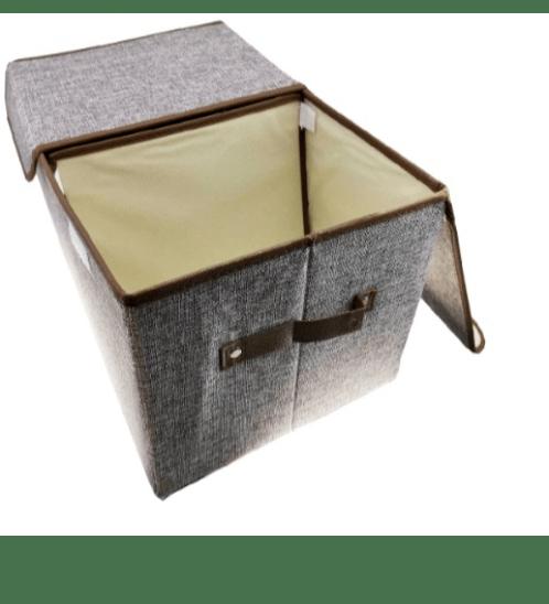 USUPSO  กล่องเก็บของ 2 ช่อง Simple linen สีเทา