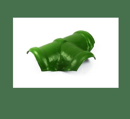 โอฬาร ครอบสันโค้งคู่ 3 ทางตัวที สีประกายนาคราช  เขียว