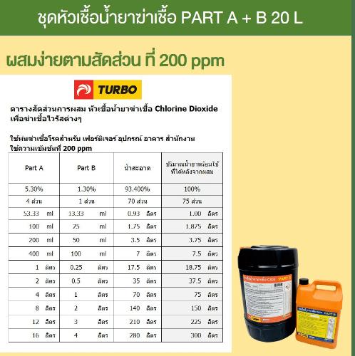 TURBO หัวเชื้อน้ำยาฆ่าเชื้อ  ClO2 Part A+B 20 L - 1 ชุด