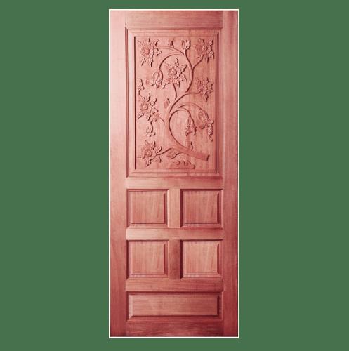 BEST ประตูไม้สยาแดงลูกฟักแกะลาย ขนาด 70x200ซม. GC-34