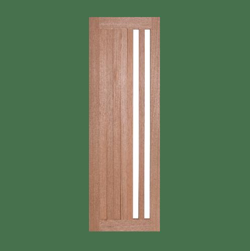BEST ประตูไม้สยาแดงพร้อมกระจกใส ขนาด 45x240ซม. ทำสี  GS-47