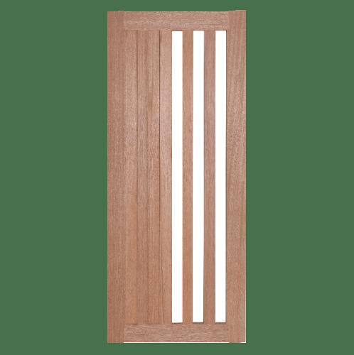 BEST ประตูไม้สยาแดงพร้อมกระจกใส ขนาด 100x210ซม. GS-47 ทำสี ไม้ธรรมชาติ