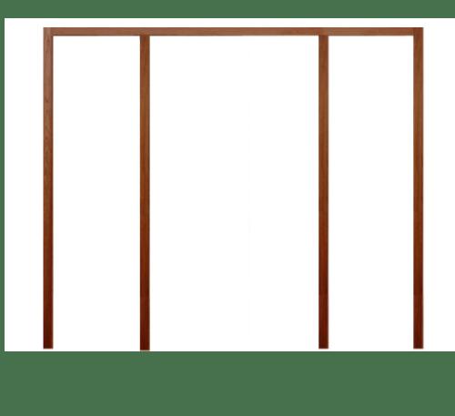 BEST วงกบประตูไม้เนื้อแข็งพร้อมซับวงกบและชุดรางเลือน   ขนาด 236x206ซม.