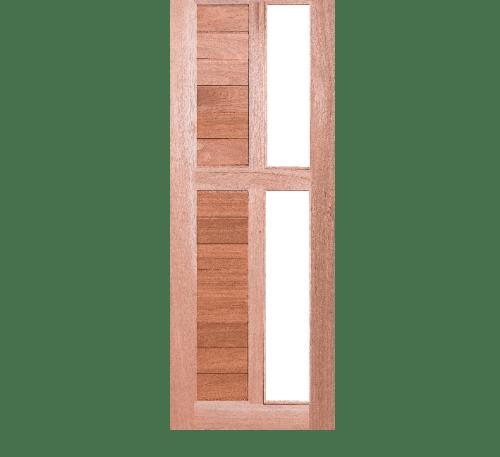 BEST  ประตูไม้สยาแดงพร้อมกระจกใส ขนาด 80x220ซม.ทำสี GS-57