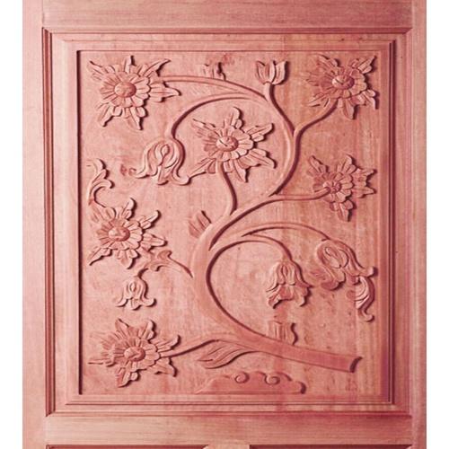 BEST ประตูไม้สยาแดง บานทึบลูกฟักแกะลาย  80x200 ซม..                                GC-34