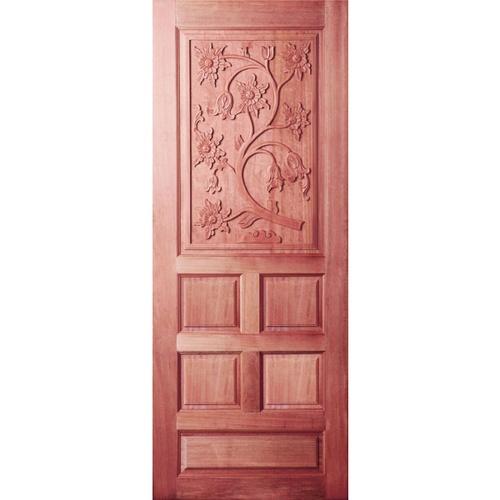 BEST ประตูไม้สยาแดงบานทึบลูกฟักแกะลาย   100x200 ซม.                   GC-34