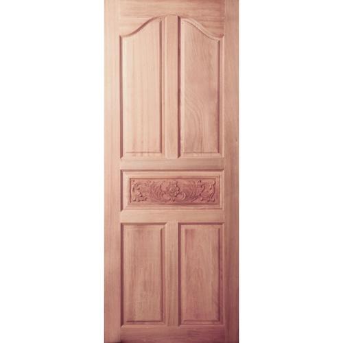 BEST ประตูไม้สยาแดง บานทึบ 5ฟักปีกนกแกะลาย ขนาด  80x180cm.  GC-52