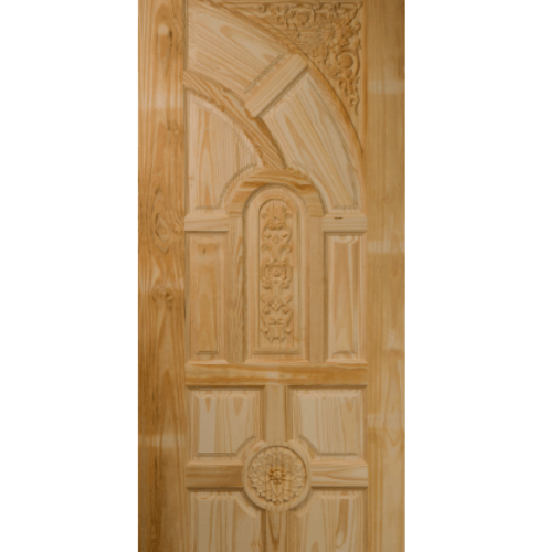 BEST ประตูไม้สนบานทึบลูกฟักแกะลาย  90x200 ซม. GC-01