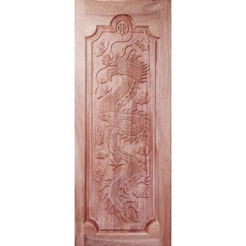 BEST  ประตูไม้สยาแดงบานทึบแกะลาย  100x230 ซม.           GC-17
