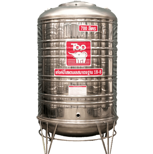 นิว ท็อป เวิลด์ ถังเก็บน้ำสแตนเลสช้างขาว TY-700L สีโครเมี่ยม