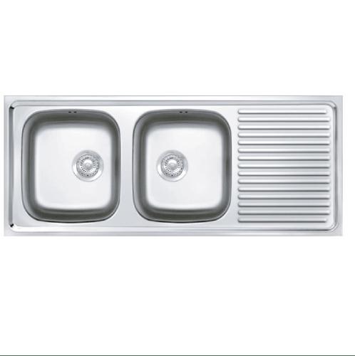 ADVANCE อ่างล้างจาน 2 หลุมมีที่พัก พร้อมสะดือ B ท่อน้ำทิ้งแบบย่น (เจาะรู)   AV120 MB/C