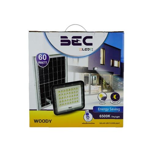 BEC  โคมฟลัดไลท์ LED โซล่าร์ 60W 6500K  WOODY  สีดำ