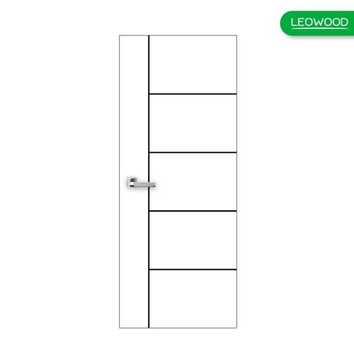 LEOWOOD  ประตูปิดผิวเมลามีน บานทึบเซาะร่องดำ ขนาด 80x200ซม.  iDoor S6 #05  สีขาว