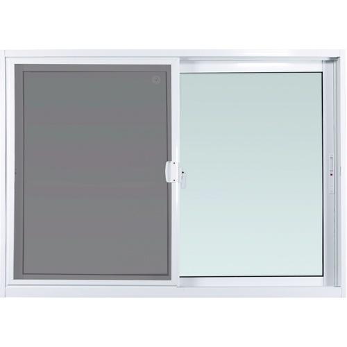 ENZO หน้าต่างอลูมิเนียมบานเลื่อน ขนาด 150x110 cm. พร้อมมุ้งลวด กระจกเขียว 5 มม. EZ-SS1511 สีขาว