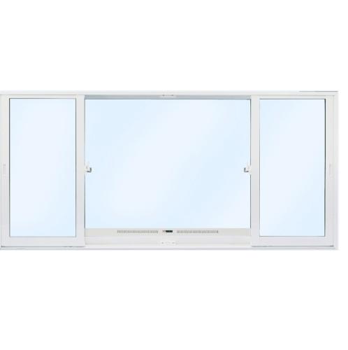 SankyoAlumi หน้าต่างอลูมิเนียมบานเลื่อน ช่องระบายอากาศพร้อมมุ้งลวด SFS (J TRUST) JW7-SFS2411-W5G+ 2400x1100มม. สีขาว