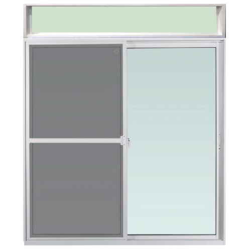 ENZO ประตูบานเลื่อนอะลูมิเนียมพร้อมบานช่องแสงบน  พร้อมมุ้งลวด ขนาด 180x233.5ซม.  Enzo สีขาว