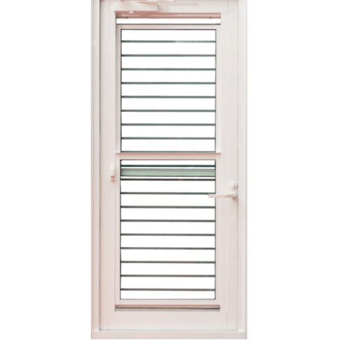 TRUSTAND (EZY WINDOW) ประตูอะลูมิเนียมบานเดี่ยวเปิดซ้ายสำหรับห้องครัว (พร้อมมุ้งลวด)  ขนาด 90x205ซม. J-Trust สีขาว