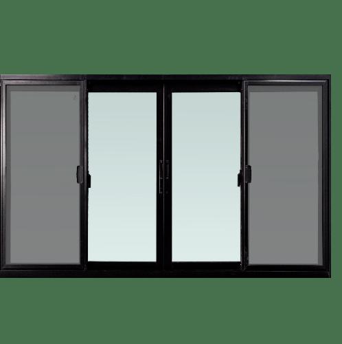 TRUSTAND (EZY WINDOW) หน้าต่างอะลูมิเนียมบานเลื่อนพร้อมมุ้งลวด FSSF (Enzo) 180x110ซม. สีดำ