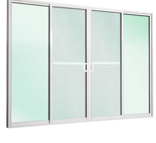 TRUSTAND (EZY WINDOW) ประตูอะลูมิเนียมบานเลื่อน ขนาด 280x205ซม. FSSF D1 Ezy พร้อมมุ้งลวด ขาว