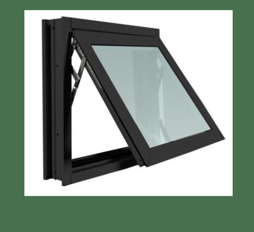 TRUSTAND (EZY WINDOW) หน้าต่างอะลูมิเนียมบานกระทุ้ง W1 80x50ซม. พร้อมมุ้ง ดำ