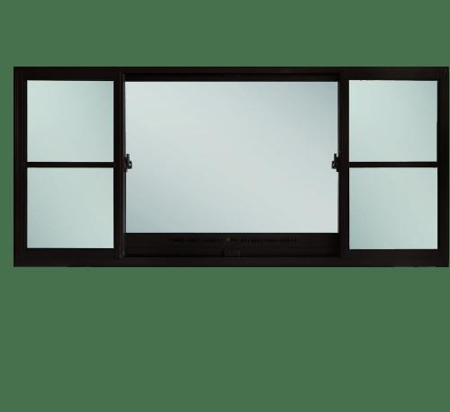 TRUSTAND (EZY WINDOW) หน้าต่างอะลูมิเนียมบานเลื่อนพร้อมช่องระบายอากาศและมุ้งลวด (J trust) ก.240xส.110ซม. ดำ