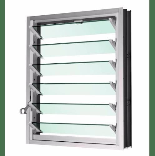 TRUSTAND (EZY WINDOW) หน้าต่างบานเกล็ด กระจกเขียว+มุ้ง 599x700 EL-L0607-W6G สีขาว