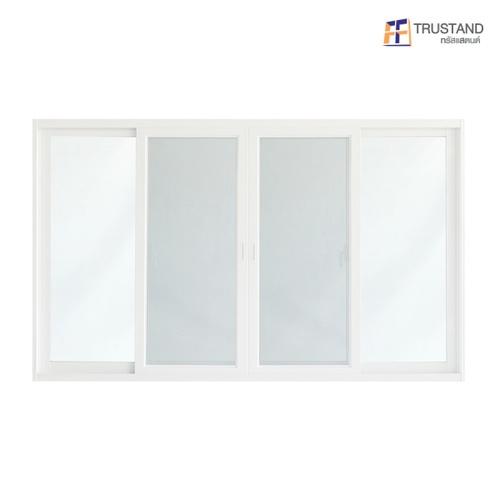 Trustand Ezy หน้าต่างบานเลื่อน+กระจกเขียว 5มม.+มุ้งดำ ขนาด 1100x1800 EDW-FSSF1118-W5G สีขาว