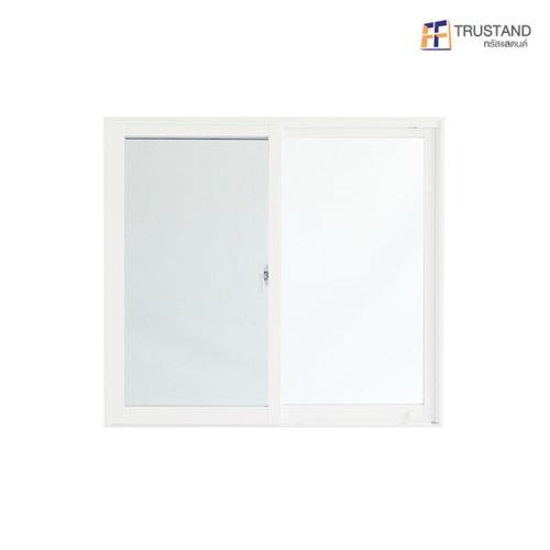 Trustand Ezy หน้าต่างบานเลื่อน+กระจกเขียว 5มม.+มุ้งดำ ขนาด 110x120 ซม. EDW-SS1112-W5G สีขาว