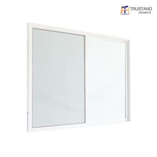 Trustand Ezy หน้าต่างบานเลื่อน+ กระจกเขียว พร้อมมุ้งลวด ขนาด 150x180 cm. EDW-SS1518-W5G สีขาว