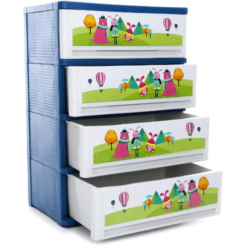 SUMO ตู้ลิ้นชัก 4ชั้น Sumo-Cartoon สีน้ำเงิน