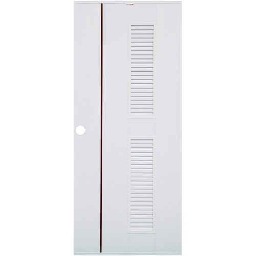 CHAMP ประตู UPVCเกล็ดบนล่างเซาะร่องโอ๊คแดง ขนาด 70cm.x200cm. Idea-7 (เจาะ)  สีขาว