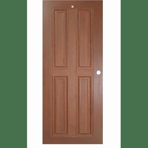 ประตู WPC 4ฟักตรง MW2 80cm.X200cm. สีโอ๊คแดง เจาะ CHAMP  โอ๊ค