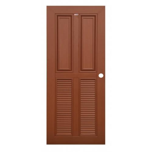 CHAMP ประตู WPC 2ฟักบน 2เกล็ดล่าง MW3 80cm.x200cm. สีโอ๊คแดง เจาะ CHAMP MW3  สีโอ๊คแดง เจาะ