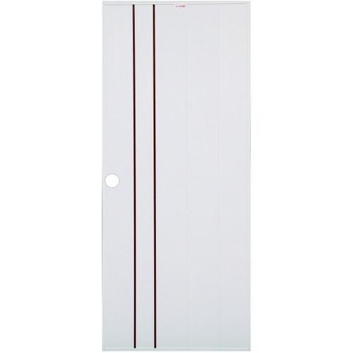 CHAMP ประตูยูพีวีซีบานทึบเซาะร่องโอ๊คแดง ขนาด 80x200cm. เจาะ  Idea-1 สีขาว