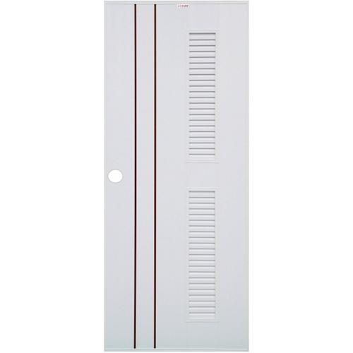 CHAMP ประตูยูพีวีซีเกล็ดครึ่งบานบนล่าง เซาะร่องโอ๊คแดง ขนาด80x200cm.  เจาะ  Idea-7  สีขาว